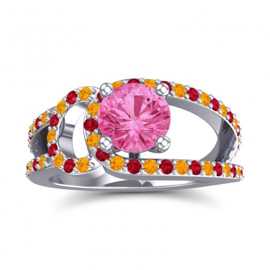 Pink Tourmaline Modern Pave Kandi Ring with Citrine and Ruby in 18k White Gold