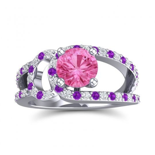 Pink Tourmaline Modern Pave Kandi Ring with Diamond and Amethyst in 14k White Gold