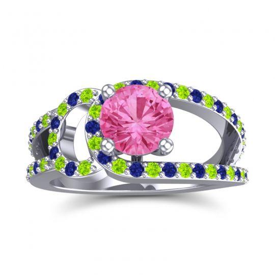 Pink Tourmaline Modern Pave Kandi Ring with Peridot and Blue Sapphire in 18k White Gold