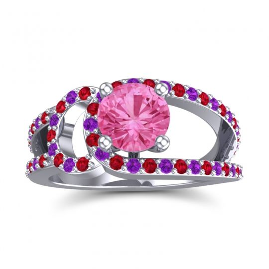 Pink Tourmaline Modern Pave Kandi Ring with Ruby and Amethyst in 14k White Gold