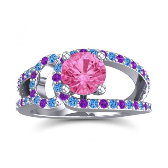 Pink Tourmaline Modern Pave Kandi Ring with Swiss Blue Topaz and Amethyst in Platinum
