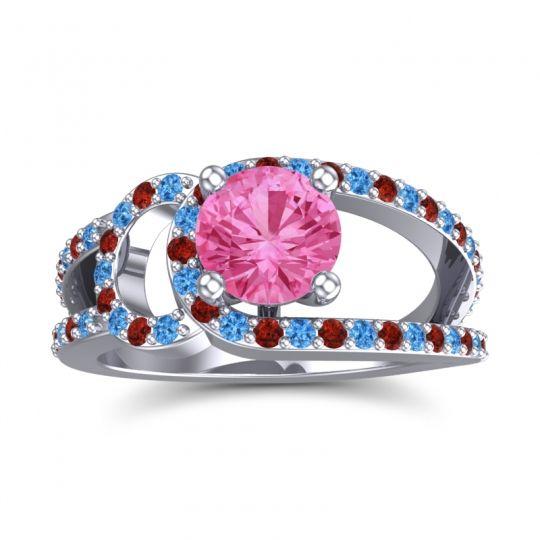 Pink Tourmaline Modern Pave Kandi Ring with Swiss Blue Topaz and Garnet in Platinum
