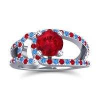 Ruby Modern Pave Kandi Ring with Swiss Blue Topaz in 14k White Gold