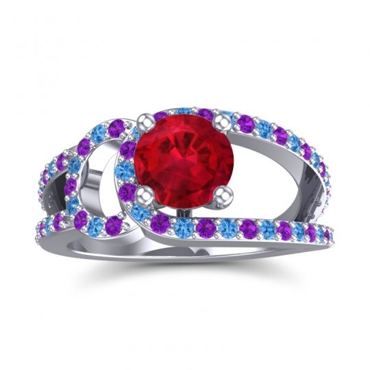 Ruby Modern Pave Kandi Ring with Amethyst and Swiss Blue Topaz in 14k White Gold