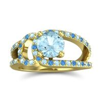 Aquamarine Modern Pave Kandi Ring with Swiss Blue Topaz in 18k Yellow Gold