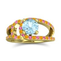 Aquamarine Modern Pave Kandi Ring with Citrine and Pink Tourmaline in 14k Yellow Gold