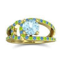 Aquamarine Modern Pave Kandi Ring with Swiss Blue Topaz and Peridot in 18k Yellow Gold