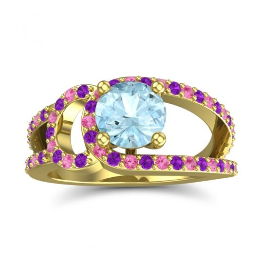 Aquamarine Modern Pave Kandi Ring with Amethyst and Pink Tourmaline in 14k Yellow Gold