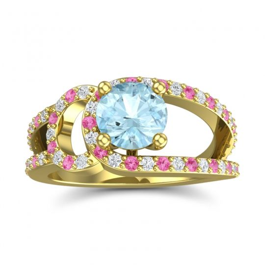 Aquamarine Modern Pave Kandi Ring with Diamond and Pink Tourmaline in 14k Yellow Gold