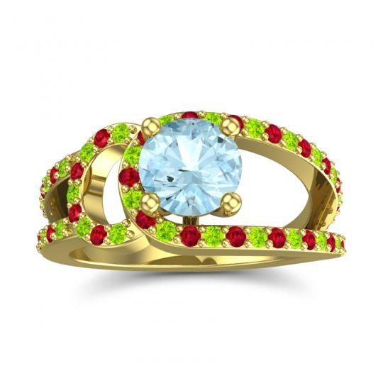 Aquamarine Modern Pave Kandi Ring with Peridot and Ruby in 14k Yellow Gold