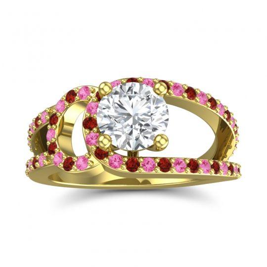 Diamond Modern Pave Kandi Ring with Pink Tourmaline and Garnet in 18k Yellow Gold