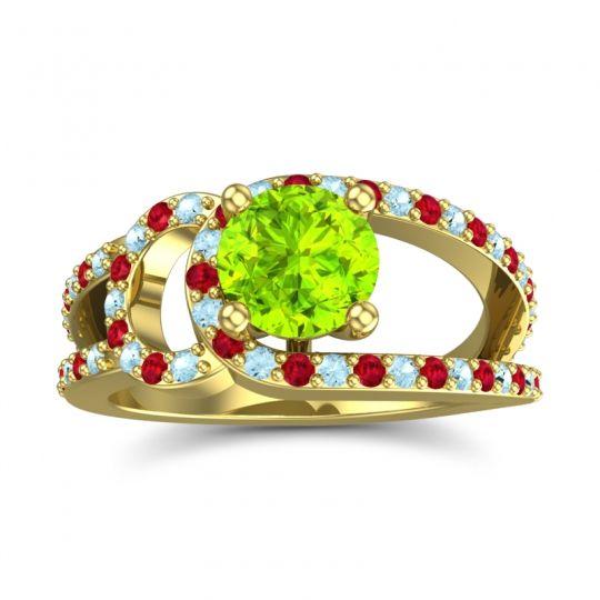 Peridot Modern Pave Kandi Ring with Aquamarine and Ruby in 14k Yellow Gold