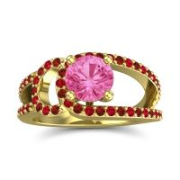 Pink Tourmaline Modern Pave Kandi Ring with Garnet and Ruby in 14k Yellow Gold