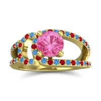 Pink Tourmaline Modern Pave Kandi Ring with Swiss Blue Topaz and Ruby in 14k Yellow Gold