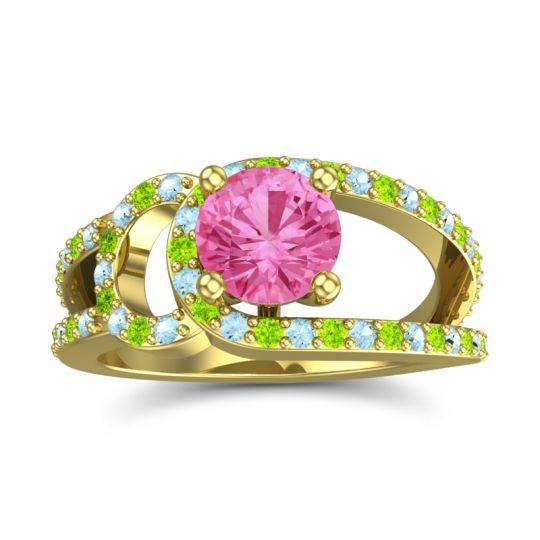 Pink Tourmaline Modern Pave Kandi Ring with Aquamarine and Peridot in 14k Yellow Gold