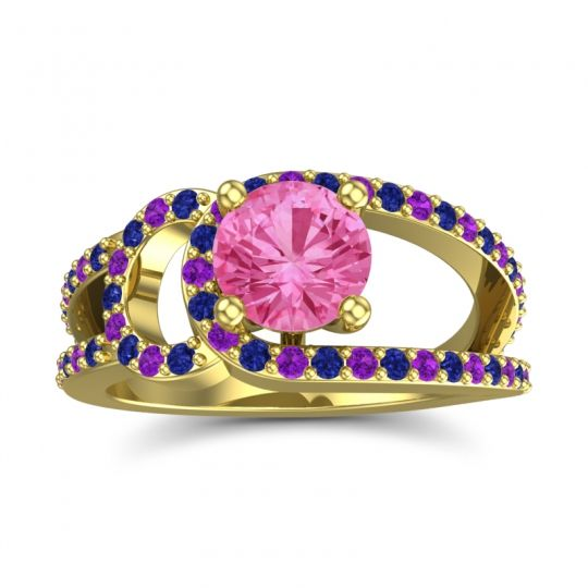 Pink Tourmaline Modern Pave Kandi Ring with Blue Sapphire and Amethyst in 14k Yellow Gold
