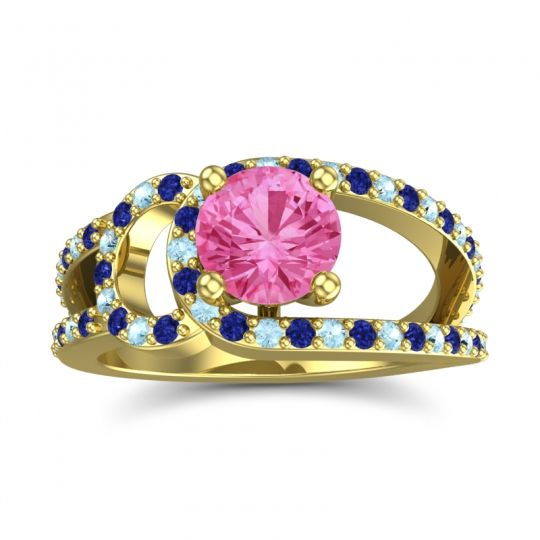 Pink Tourmaline Modern Pave Kandi Ring with Blue Sapphire and Aquamarine in 14k Yellow Gold