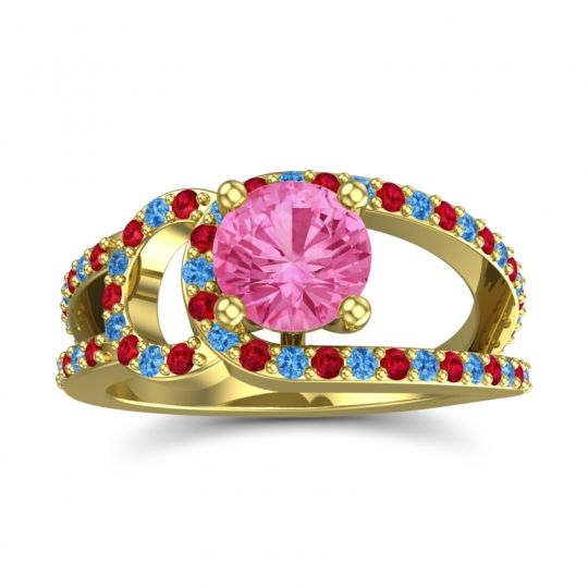 Pink Tourmaline Modern Pave Kandi Ring with Ruby and Swiss Blue Topaz in 14k Yellow Gold