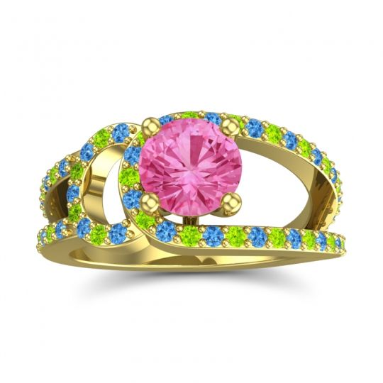 Pink Tourmaline Modern Pave Kandi Ring with Swiss Blue Topaz and Peridot in 14k Yellow Gold