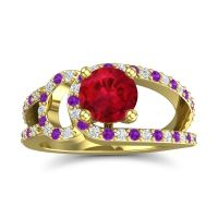 Ruby Modern Pave Kandi Ring with Diamond and Amethyst in 14k Yellow Gold