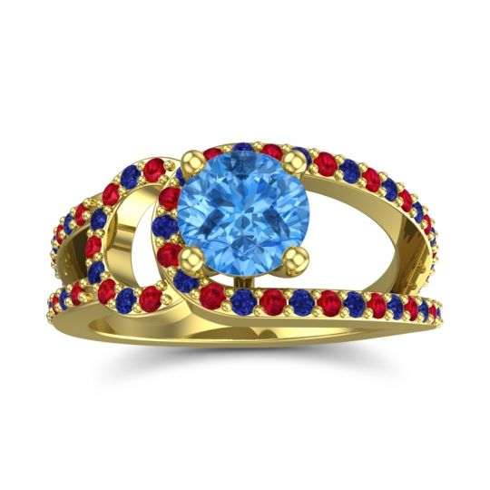 Swiss Blue Topaz Modern Pave Kandi Ring with Ruby and Blue Sapphire in 18k Yellow Gold