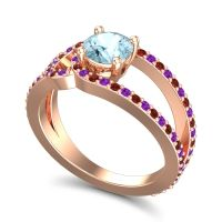 Aquamarine Modern Pave Kandi Ring with Amethyst and Garnet in 18K Rose Gold