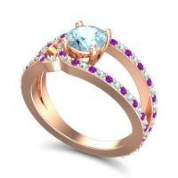 Aquamarine Modern Pave Kandi Ring with Amethyst in 18K Rose Gold