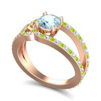 Aquamarine Modern Pave Kandi Ring with Peridot in 18K Rose Gold
