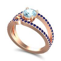 Aquamarine Modern Pave Kandi Ring with Blue Sapphire in 18K Rose Gold