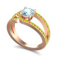 Aquamarine Modern Pave Kandi Ring with Peridot and Citrine in 18K Rose Gold