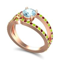 Aquamarine Modern Pave Kandi Ring with Peridot and Garnet in 14K Rose Gold