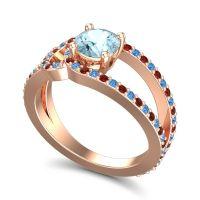 Aquamarine Modern Pave Kandi Ring with Swiss Blue Topaz and Garnet in 18K Rose Gold