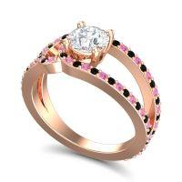 Diamond Modern Pave Kandi Ring with Pink Tourmaline and Black Onyx in 18K Rose Gold