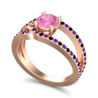 Pink Tourmaline Modern Pave Kandi Ring with Amethyst and Black Onyx in 14K Rose Gold