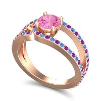 Pink Tourmaline Modern Pave Kandi Ring with Amethyst and Swiss Blue Topaz in 18K Rose Gold