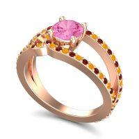 Pink Tourmaline Modern Pave Kandi Ring with Citrine and Garnet in 18K Rose Gold