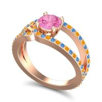 Pink Tourmaline Modern Pave Kandi Ring with Citrine and Swiss Blue Topaz in 18K Rose Gold