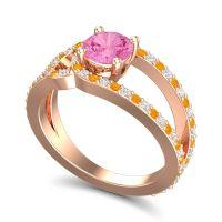 Pink Tourmaline Modern Pave Kandi Ring with Diamond and Citrine in 14K Rose Gold