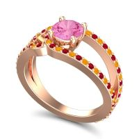 Pink Tourmaline Modern Pave Kandi Ring with Ruby and Citrine in 14K Rose Gold