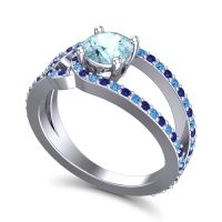 Aquamarine Modern Pave Kandi Ring with Blue Sapphire and Swiss Blue Topaz in 18k White Gold