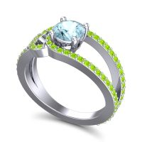 Aquamarine Modern Pave Kandi Ring with Peridot in Platinum
