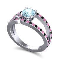 Aquamarine Modern Pave Kandi Ring with Pink Tourmaline and Black Onyx in 18k White Gold