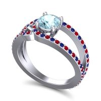 Aquamarine Modern Pave Kandi Ring with Ruby and Blue Sapphire in 14k White Gold