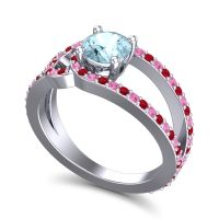 Aquamarine Modern Pave Kandi Ring with Ruby and Pink Tourmaline in Platinum