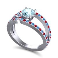 Aquamarine Modern Pave Kandi Ring with Swiss Blue Topaz and Ruby in Platinum