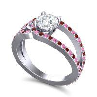 Diamond Modern Pave Kandi Ring with Pink Tourmaline and Garnet in 18k White Gold