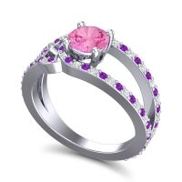 Pink Tourmaline Modern Pave Kandi Ring with Amethyst and Diamond in 18k White Gold