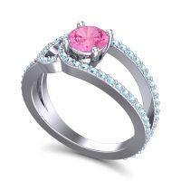Pink Tourmaline Modern Pave Kandi Ring with Aquamarine in Palladium