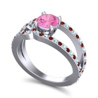 Pink Tourmaline Modern Pave Kandi Ring with Aquamarine and Garnet in Palladium