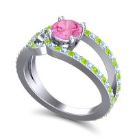 Pink Tourmaline Modern Pave Kandi Ring with Aquamarine and Peridot in 18k White Gold